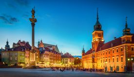 Royal Castle, ancient townhouses and Sigismund`s Column in Old town in Warsaw, Poland. Night view, long exposure royalty free stock photo