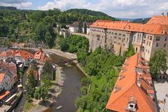 Royal castle in Cesky Krumlov, Czech republic. View of a beautiful medieval city of Cesky Krumlov in Czech Republic.There are many of historical buildings royalty free stock photography