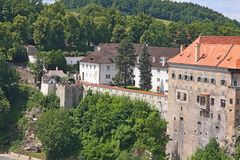 Royal castle in Cesky Krumlov, Czech republic. View of a beautiful medieval city of Cesky Krumlov in Czech Republic.There are many of historical buildings stock images