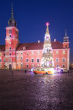 Royal Castle and Christmas Tree in Warsaw Stock Photos