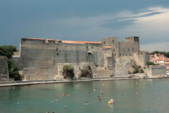 Royal castle of Collioure in France Stock Photography