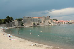 Royal castle of Collioure in France Stock Photos