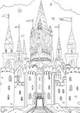 Royal castle. Graphic illustration for coloring book Stock Photography
