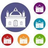 Royal castle icons set Royalty Free Stock Images