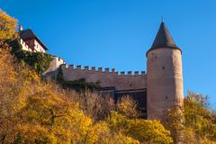 Karlstein castle wall and tower in autumn time Royalty Free Stock Photo