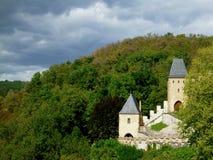 Royal castle Karlstejn in Czech Republic. View on tower Stock Photos