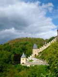 Royal castle Karlstejn in Czech Republic. View on tower Royalty Free Stock Images