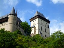 Royal castle Karlstejn in Czech Republic. View on towers Stock Photos