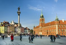 Royal Castle and King Waza III column on Castle Square in Warsaw Stock Photos
