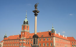 Royal Castle and King Zygmunt's column. In Old Town, Warsaw, Poland Stock Image