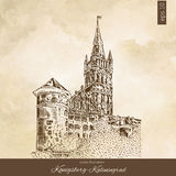 The Royal castle of Koenigsberg, Kaliningrad Russia, hand drawn engraving vector illustration isolated on brown Royalty Free Stock Images