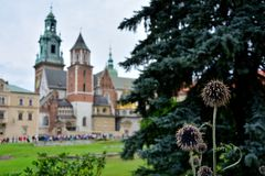 Royal castle Krakow. With the royal park Royalty Free Stock Photography