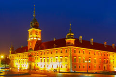 Royal Castle at night in Warsaw, Poland. Royalty Free Stock Image