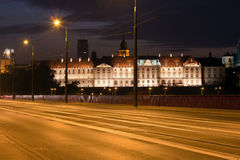 Royal Castle at Night in Warsaw Stock Images