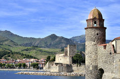 Castle and church of Collioure in France Royalty Free Stock Photos