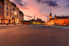 Royal castle and old town square at sunrise in Poland Royalty Free Stock Photography