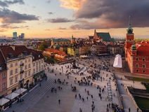 Royal castle and old town square at sunset. Stock Image