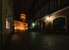 Royal castle and old town street at night in Poland. Europe Stock Photography