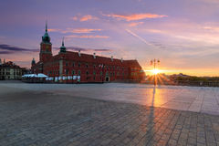 Royal castle in old town of Warsaw in the morning. Stock Photos
