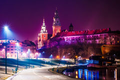 Royal castle of the Polish kings on the Wawel hill Stock Images