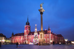 Royal Castle and Sigismund Column by Night in Warsaw Royalty Free Stock Image