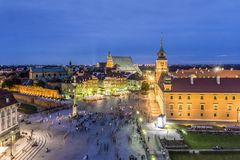 Royal Castle and Sigmund Column in the evening, Warsaw, Poland Stock Images