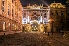 Royal Castle Square, Budapest. Entrance to the Royal Castle Square in Budapest at night. Buda Castle is home to the Hungarian National Gallery, the Budapest Royalty Free Stock Photo
