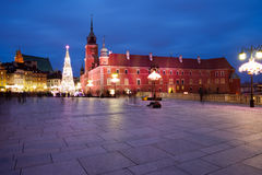 Royal Castle Square by Night in Warsaw Stock Image