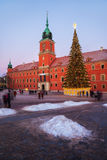 Royal Castle Square in Warsaw at Christmas Stock Images