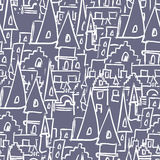 Royal Castle with towers seamless pattern. Vector background of vector illustration