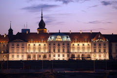 Royal Castle at Twilight in Warsaw Stock Photo