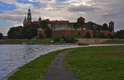 The Royal Castle. Royal Castle at the Vistula coast in Krakow on the Wawel Hill Stock Images