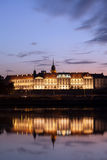Royal Castle and Vistula River at Twilight in Warsaw Royalty Free Stock Images
