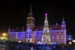 Royal Castle in Warsaw during Christmas time Stock Images