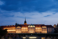 Royal Castle in Warsaw at Dusk. Royal Castle in Warsaw, Poland evening illumination, Baroque and Mannerist facade, city landmark Stock Photo