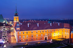 Royal Castle in Warsaw at Night Stock Photo