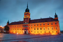 Royal Castle in Warsaw, Poland at the evening royalty free stock photos