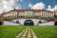 Royal Castle of Warsaw, Poland. Royal Castle and The Kubicki Arcades in the Old Town of Warsaw, Poland Stock Photos