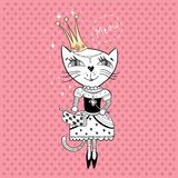 Royal cat. Funny cat with crown and bag in a beautiful dress Royalty Free Stock Photography