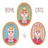 Royal cats queen king portraits set. Royal cats queen king doodle colorful portraits set Stock Image