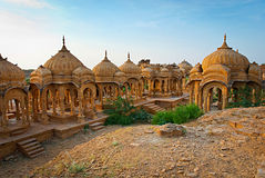 The royal cenotaphs of historic rulers, also known as Jaisalmer Stock Image