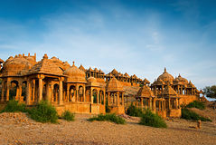 The royal cenotaphs of historic rulers. Jaisalmer, India Royalty Free Stock Photography