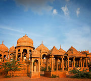 The royal cenotaphs of historic rulers, Jaisalmer, India. Stock Photo