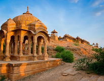 The royal cenotaphs of historic rulers, Jaisalmer, Rajasthan, India. Stock Photos