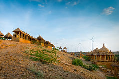 The royal cenotaphs of historic rulers, Jaisalmer, Rajasthan, India. Stock Image