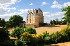 The royal chateau de Brissac, Loire. Beautiful Chateau de Brissac, romantic medieval castle in the Loire valley stock images