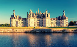 The royal Chateau de Chambord at sunset, France Royalty Free Stock Photography