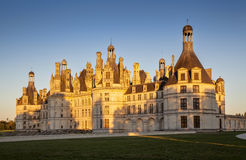 The royal Chateau de Chambord at sunset, France. royalty free stock images