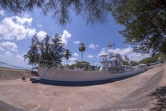 Royal Chumphon Boat Tourist attractions in Chumphon Province. Fisheye lens stock image
