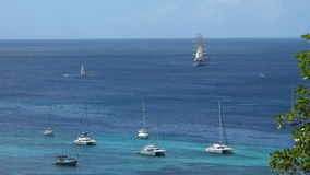 The royal clipper calling at bequia in the grenadines stock video